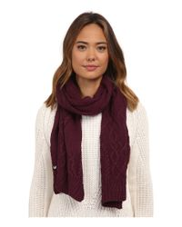 UGG - Red Isla Lurex Cable Scarf - Lyst