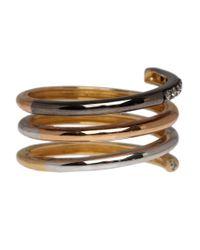 Ruby Kovo Metallic Tones Of Gold Diamond Spiral Ring