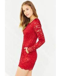 Kimchi Blue Red Long-sleeve Lace Romper