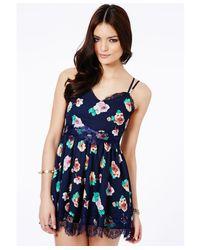 Missguided - Multicolor Alaneta Floral Eyelash Cami Slip Skater Dress - Lyst
