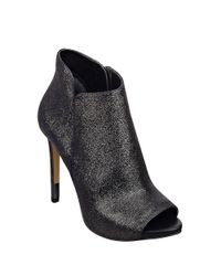 Guess Metallic Adara Leather Peep Toe Ankle Boots