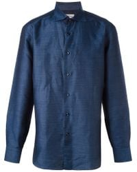 Brioni - Blue Check Print Shirt for Men - Lyst