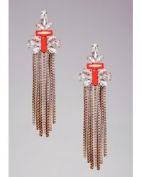 Bebe | Orange Chain Statement Earrings | Lyst