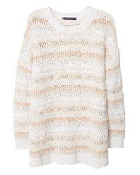 Mango White Cotton Blend Stripe Sweater