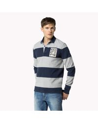 Tommy Hilfiger | Black Cotton Striped Rugby Shirt for Men | Lyst