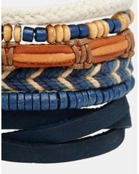 ASOS | Brown Leather Bracelet Pack In Blue for Men | Lyst
