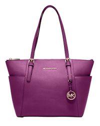 MICHAEL Michael Kors | Purple Jet Set East West Leather Tote Bag | Lyst