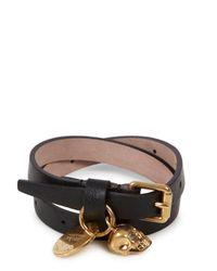 Alexander McQueen - Black Skull Embellished Leather Wrap Bracelet - Lyst