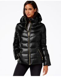 Calvin Klein | Black Hooded Puffer Coat | Lyst