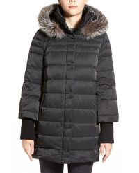 Elie Tahari | Black 'silvana' Genuine Fox Fur Trim Down Parka | Lyst