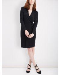 Jaeger Black Wrap Front Tuck Shoulder Jersey Dress
