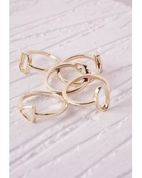 Missguided | Metallic Cut Out Stacking Rings 5 Pack | Lyst