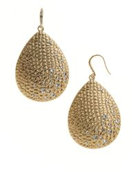 ABS By Allen Schwartz | Metallic Pave Drop Earrings | Lyst
