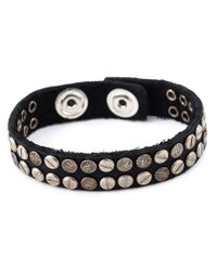 DIESEL - Black Studded Bracelet for Men - Lyst