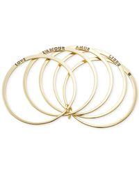 Carolee - Metallic Gold-Tone Love Language Bangle Bracelet Set - Lyst