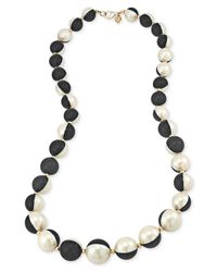 Carolee - 12K Gold-Plated Black And White Glass Pearl Long Necklace - Lyst