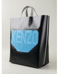 KENZO - Black Logo Patch Faux-Leather Tote - Lyst