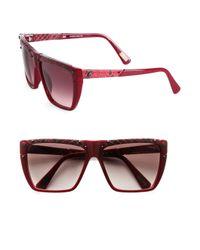 Lanvin | Brown Square Snake-Print Leather-Trim Sunglasses | Lyst