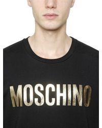 Moschino Black Logo Printed Cotton Jersey T-shirt for men