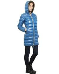 Duvetica Blue Ace Hooded Shiny Nylon Down Jacket