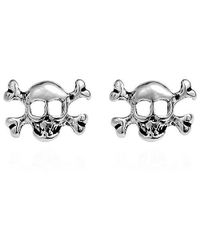 Aeravida | Metallic Petite Punk Skull/pirate .925 Silver Stud Earrings | Lyst