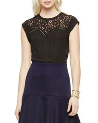 Vince Camuto | Black Lace-inset Top | Lyst