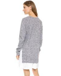 CLU Gray Too Pleated Sweater Dress