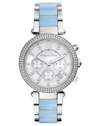 Michael Kors - Blue Women'S Chronograph Parker Chambray Acetate And Stainless Steel Bracelet Watch 39Mm Mk6138 - Lyst