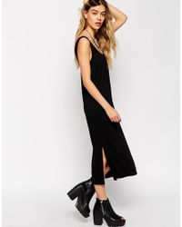 ASOS - Black Vest Midi Dress With Side Splits - Lyst