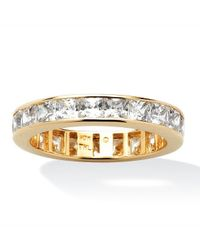 Palmbeach Jewelry - Metallic 5.29 Tcw Princess-cut Cubic Zirconia Eternity Band In 10k Gold - Lyst