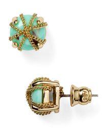 ABS By Allen Schwartz - Green Chain Wrapped Stud Earrings - Lyst