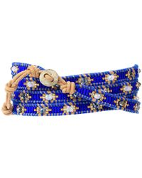 Chan Luu Blue Lapis and Gold Wrap Bracelet On Natural Brown Leather