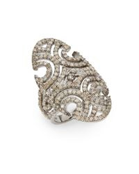 Bavna | Metallic 2.18 Tcw Champagne Diamond & Sterling Silver Shield Ring | Lyst
