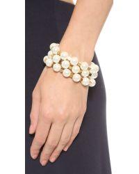 Tory Burch | Metallic Tilde Multi Strand Bracelet Ivory Pearlshiny Brass | Lyst