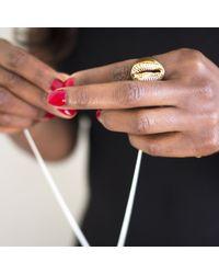 Rokus   Metallic Cowrie Signet Ring for Men   Lyst