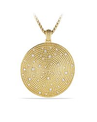 David Yurman | Metallic Cable Coil Pendant With Diamonds In 18 K Gold | Lyst