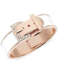 Guess - Rose Gold-Tone Pave Crystal And White Epoxy Buckle Bangle Bracelet - Lyst