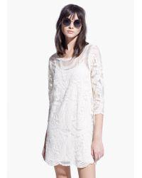 Mango White Boho Dress