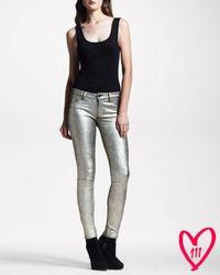 J Brand Bg 111th Anniversary Super Skinny Metallic Suede Jeans