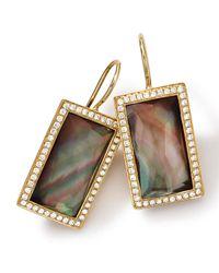 Ippolita Multicolor 18k Gold Gelato Small Baguette Black Shell Earrings With Diamonds