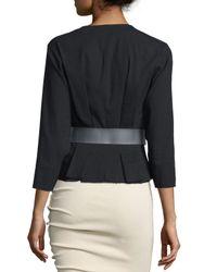 Donna Karan - Black 3/4-sleeve Belted Jacket - Lyst
