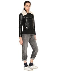 Golden Goose Deluxe Brand Black Nappa Leather and Shearling Jacket for men