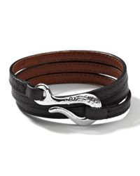 Ippolita | Mens Pelle Sterlinghook Leather 3wrap Bracelet in Black for Men | Lyst