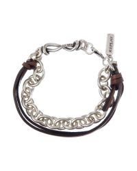 Replay | Metallic Leather and Metal Bracelet for Men | Lyst