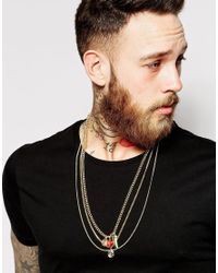 ASOS | Metallic Necklace Pendant Pack for Men | Lyst