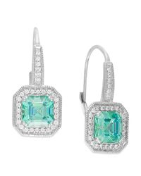 Arabella | Green Mint (6-5/8 Ct. T.w.) And White (1/2 Ct. T.w.) Swarovski Zirconia Drop Earrings In Sterling Silver | Lyst