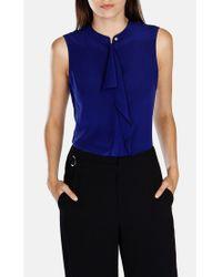 Karen Millen Blue Draped Front Shirt
