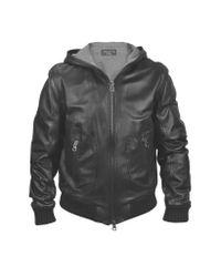 FORZIERI | Men's Black Leather Hooded Jacket for Men | Lyst