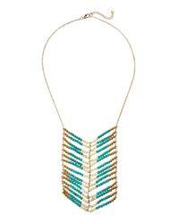 Panacea - Blue Tri-Tone Beaded Chevron Necklace - Lyst