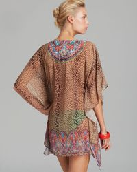 Pilyq - Brown Raja Breezy Embroidered Swim Cover Up Tunic - Lyst